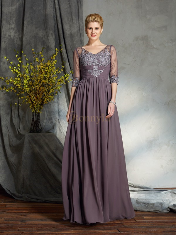 Chiffon V-neck A-Line/Princess Floor-Length Mother of the Bride Dresses