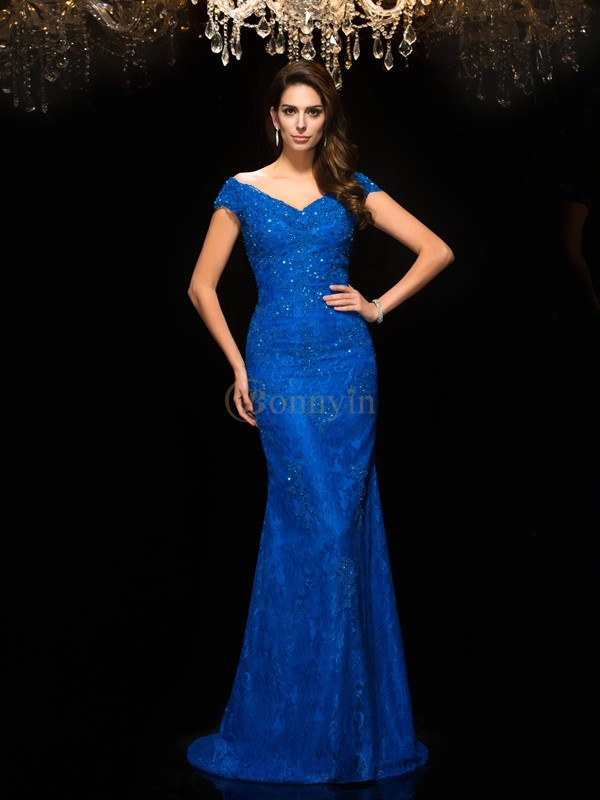Blue Lace V-neck Trumpet/Mermaid Sweep/Brush Train Mother of the Bride Dresses