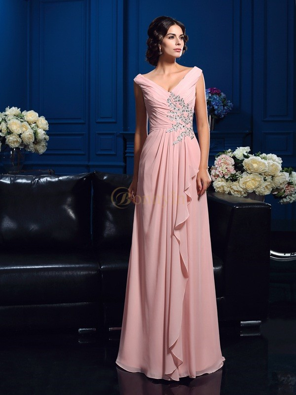 Pearl Pink Chiffon V-neck A-Line/Princess Sweep/Brush Train Mother of the Bride Dresses