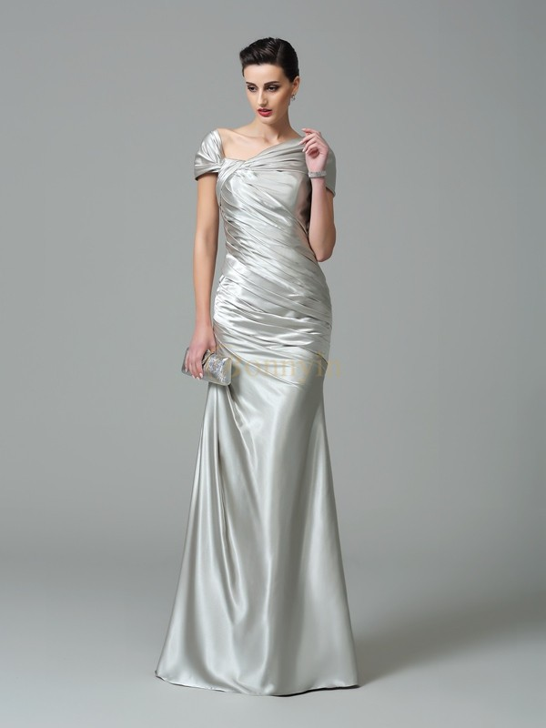 Silver Silk like Satin Off the Shoulder Sheath/Column Floor-Length Evening Dresses