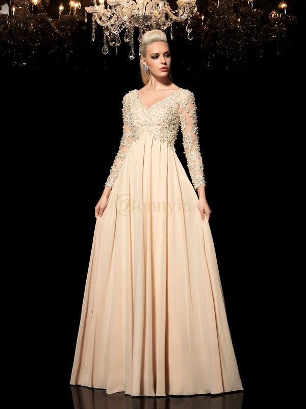 Champagne Chiffon V-neck A-Line/Princess Floor-Length Prom Dresses