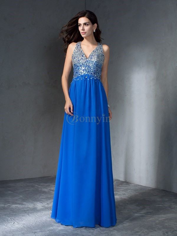 Blue Chiffon V-neck A-Line/Princess Floor-Length Prom Dresses