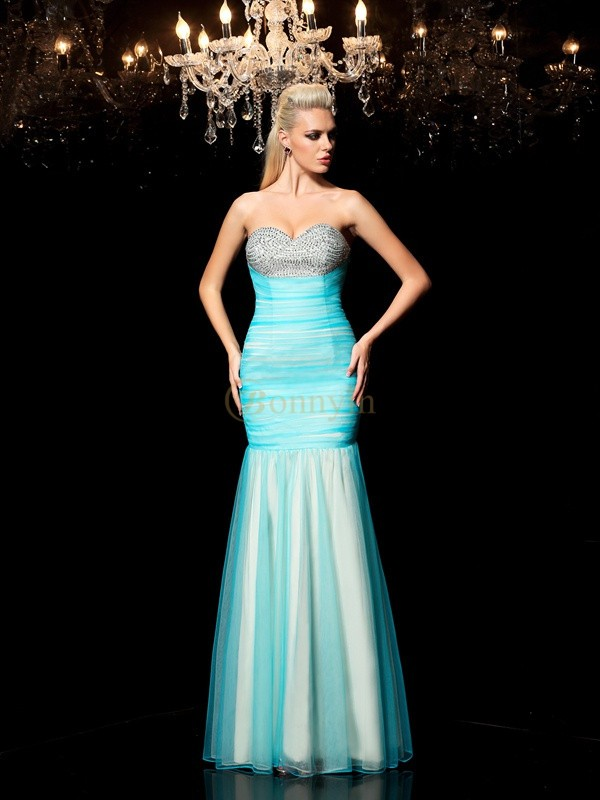Blue Net Sweetheart Sheath/Column Floor-Length Prom Dresses