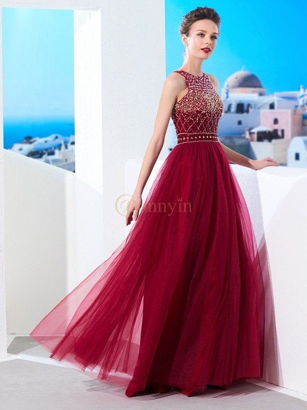 Burgundy Tulle Scoop A-Line/Princess Floor-Length Dresses