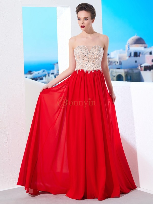 Red Chiffon Strapless A-Line/Princess Sweep/Brush Train Dresses