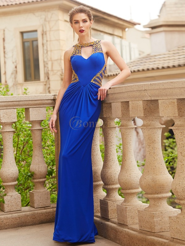 Royal Blue Spandex Scoop Sheath/Column Floor-Length Dresses