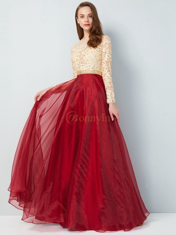 Burgundy Organza Sheer Neck A-Line/Princess Floor-Length Prom Dresses