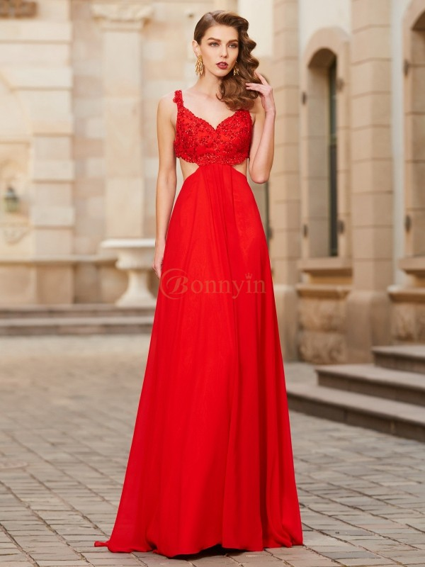 Red Chiffon Straps A-Line/Princess Floor-Length Prom Dresses