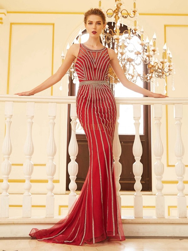 Red Net Scoop Sheath/Column Sweep/Brush Train Prom Dresses