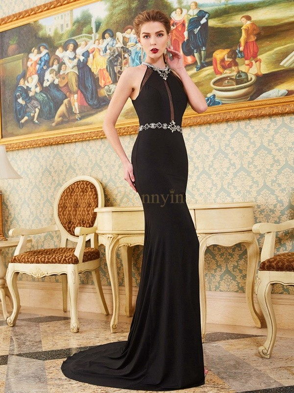 Black Spandex High Neck Sheath/Column Sweep/Brush Train Prom Dresses