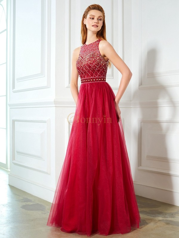 Burgundy Tulle Scoop A-Line/Princess Floor-Length Prom Dresses