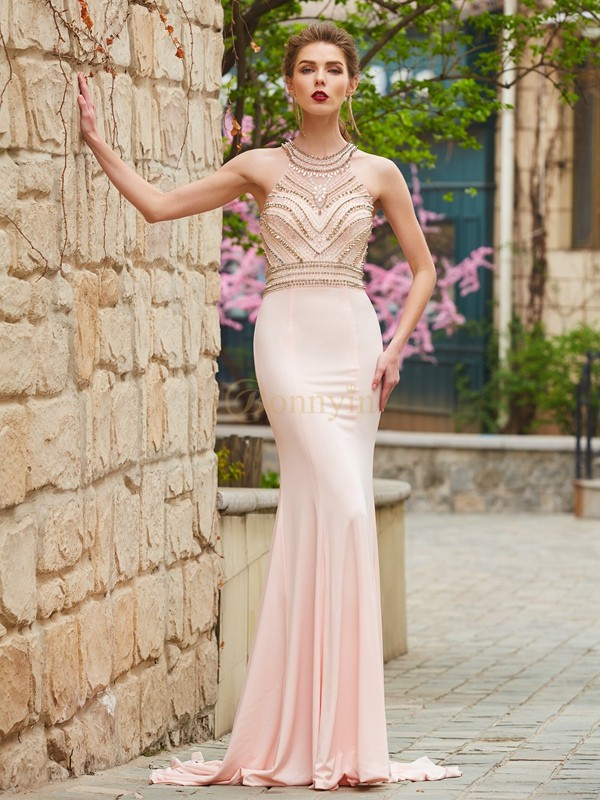 Pearl Pink Spandex Scoop Sheath/Column Sweep/Brush Train Prom Dresses