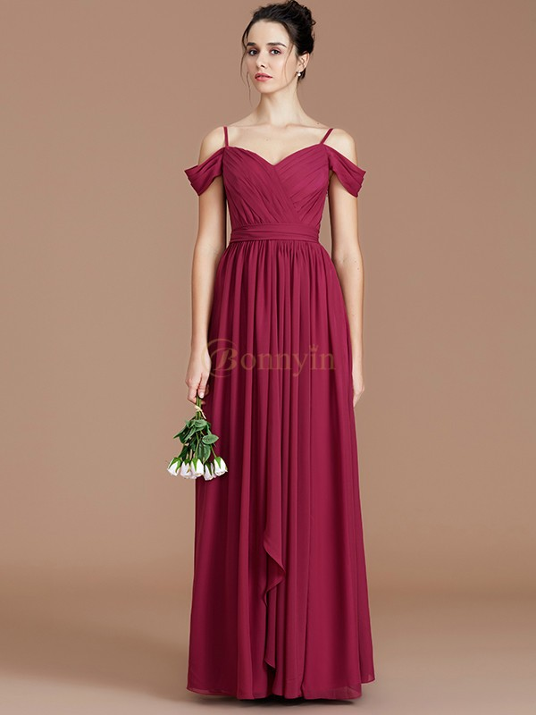 Burgundy Chiffon Off-the-Shoulder A-Line/Princess Floor-Length Bridesmaid Dresses