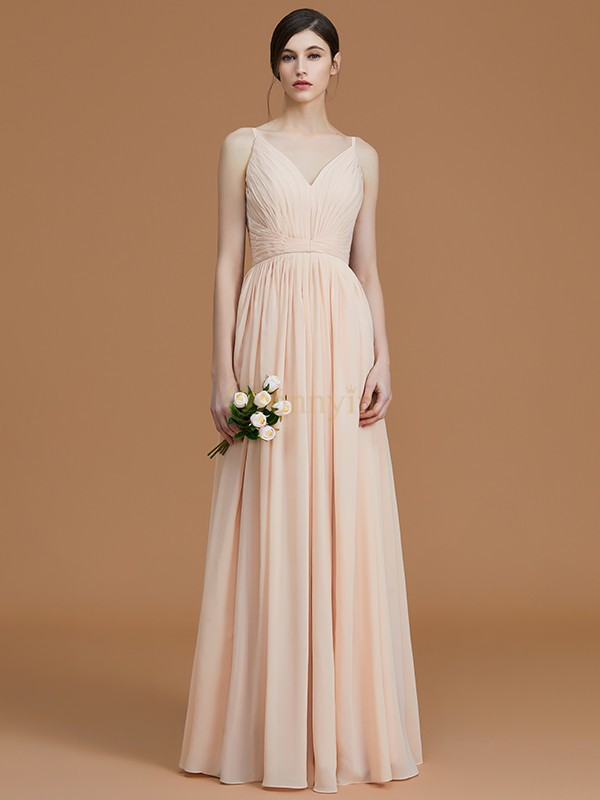 Champagne Chiffon V-neck A-Line/Princess Floor-Length Bridesmaid Dresses
