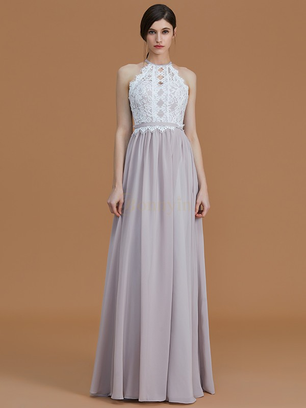 Grey Chiffon Halter A-Line/Princess Floor-Length Bridesmaid Dresses