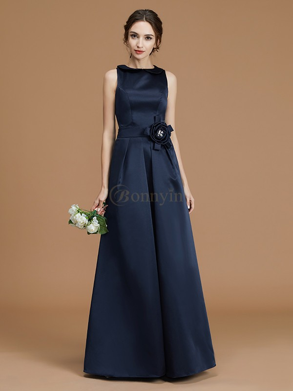 Dark Navy Satin Bateau A-Line/Princess Floor-Length Bridesmaid Dresses