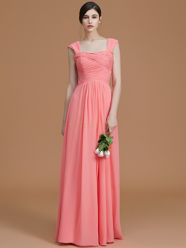 Watermelon Chiffon Sweetheart A-Line/Princess Floor-Length Bridesmaid Dresses