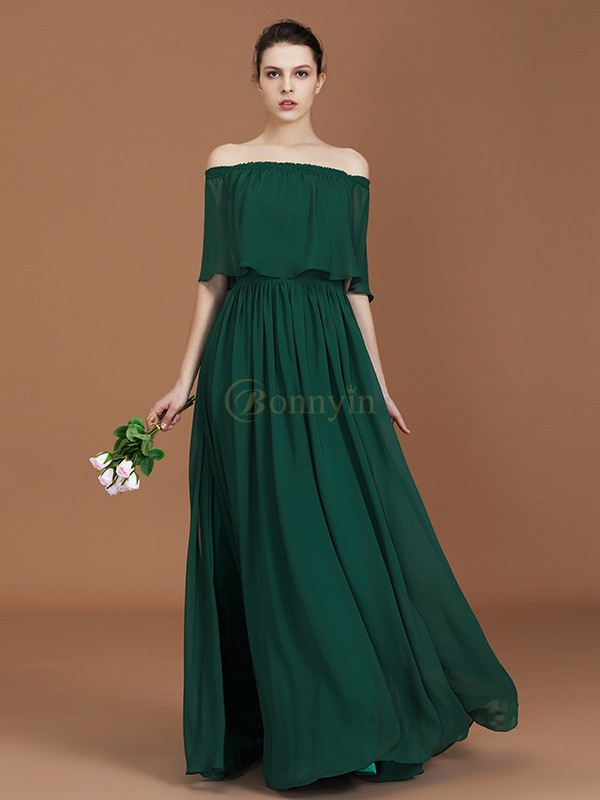 Dark green Chiffon Off-the-Shoulder A-Line/Princess Floor-Length Bridesmaid Dresses