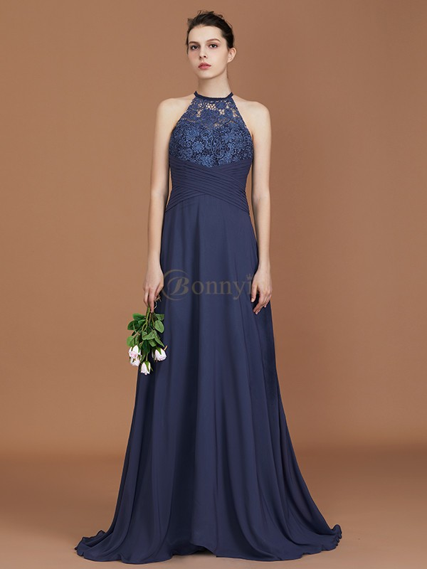 Dark Navy Chiffon Scoop A-Line/Princess Sweep Train Bridesmaid Dresses