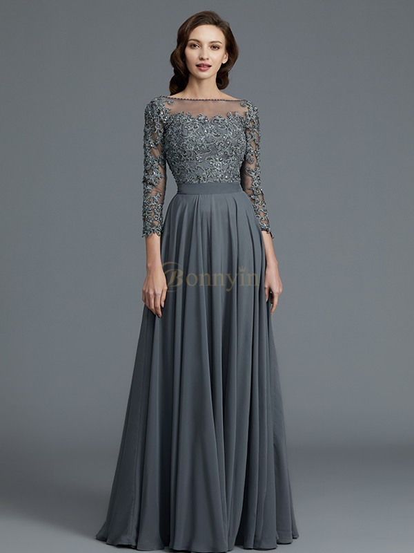 Grey Chiffon Bateau A-Line/Princess Floor-Length Mother of the Bride Dresses