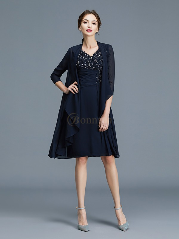 Dark Navy Chiffon V-neck Sheath/Column Knee-Length Mother of the Bride Dresses