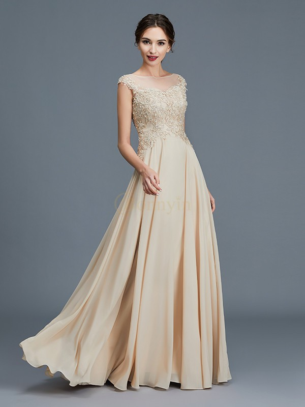 Gold Chiffon Scoop A-Line/Princess Floor-Length Mother of the Bride Dresses