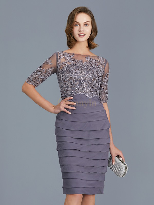 Grape Chiffon Scoop Sheath/Column Knee-Length Mother of the Bride Dresses