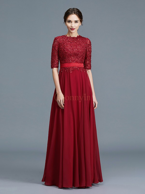 Burgundy Chiffon Scoop A-Line/Princess Floor-Length Mother of the Bride Dresses