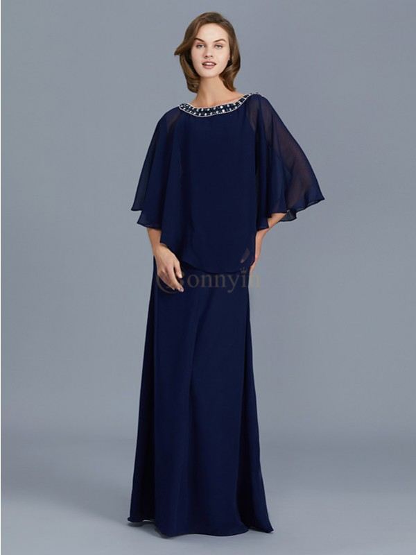 Dark Navy Chiffon Scoop Sheath/Column Floor-Length Mother of the Bride Dresses