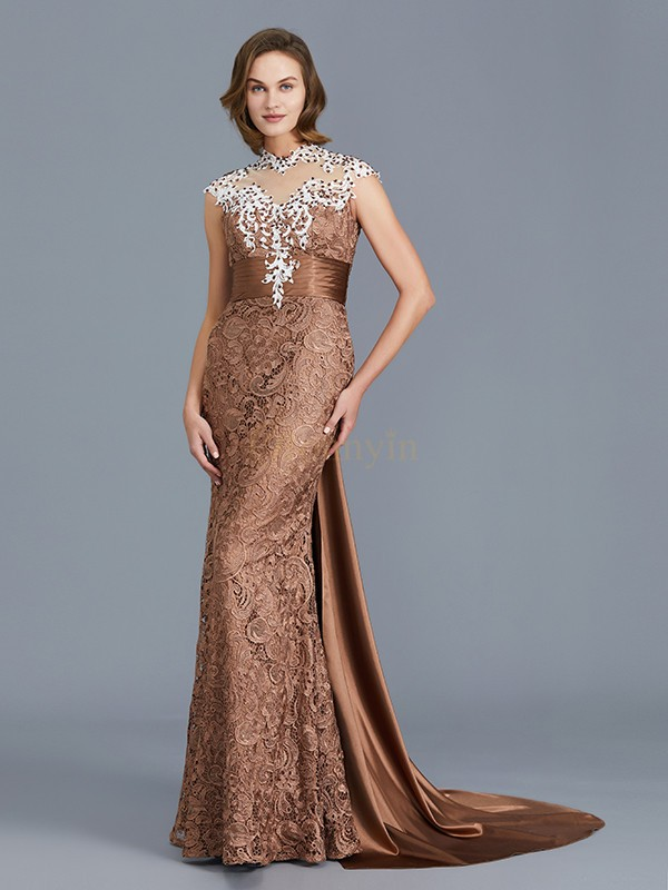 Brown Lace Scoop Trumpet/Mermaid Floor-Length Mother of the Bride Dresses