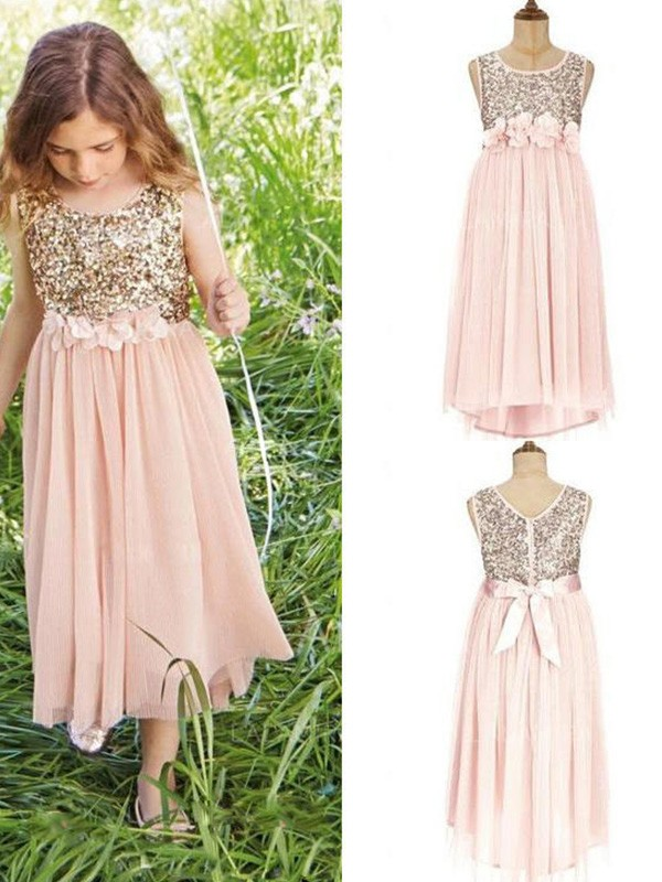 Pink Chiffon Scoop A-Line/Princess Asymmetrical Flower Girl Dresses
