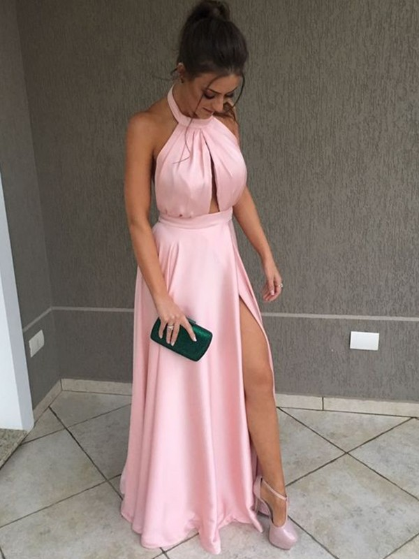 Pink Satin Halter A-Line/Princess Floor-Length Dresses