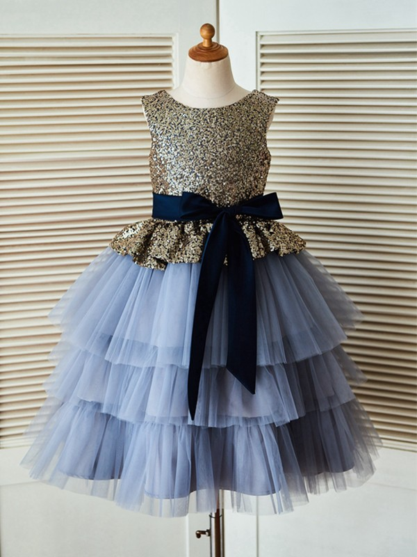 Light Sky Blue Tulle Scoop A-Line/Princess Tea-Length Flower Girl Dresses