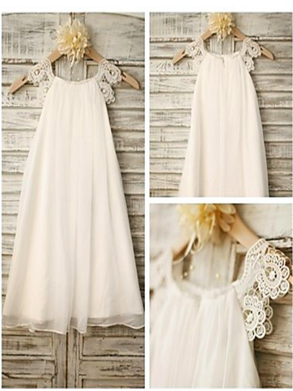 White Chiffon Scoop A-line/Princess Ankle-Length Flower Girl Dresses