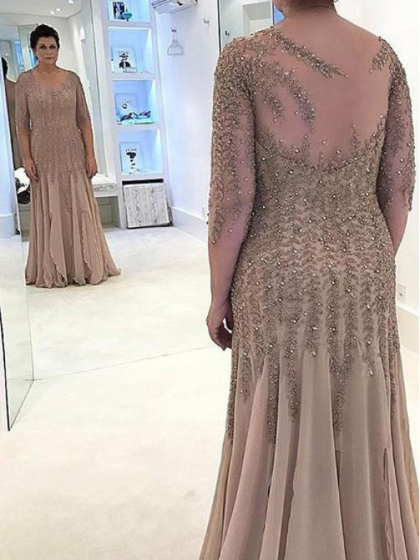 Champagne Chiffon Sheer Neck Sheath/Column Floor-Length Mother of the Bride Dresses