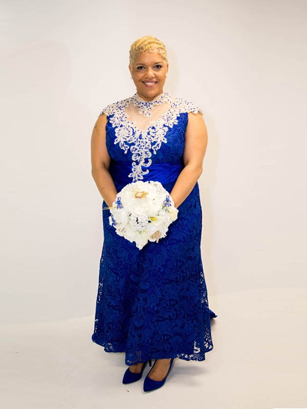 Royal Blue Elastic Woven Satin Sheer Neck A-Line/Princess Asymmetrical Mother of the Bride Dresses