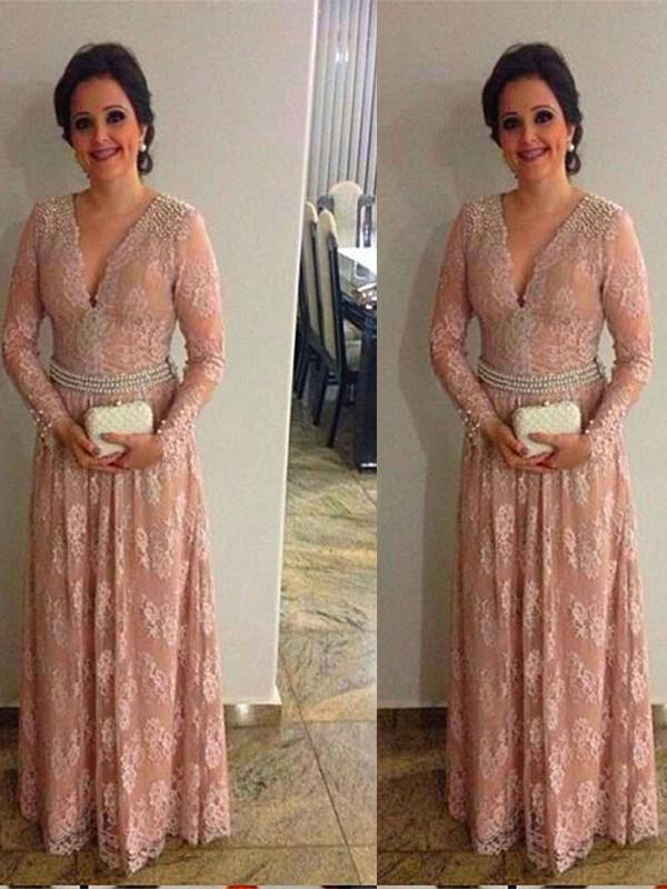 Pink Lace V-neck A-Line/Princess Floor-Length Mother of the Bride Dresses