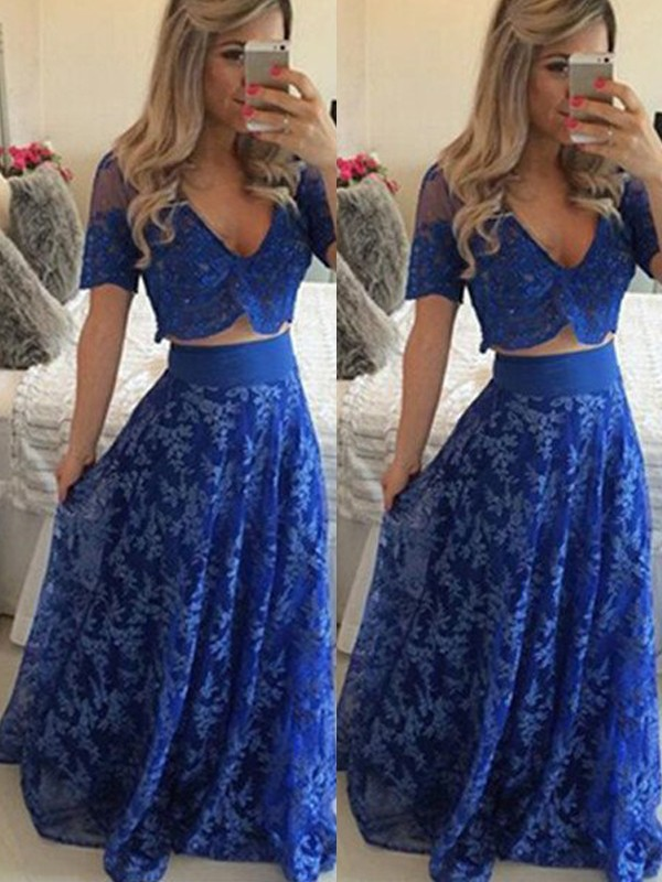 Royal Blue Lace V-neck A-Line/Princess Floor-Length Prom Dresses