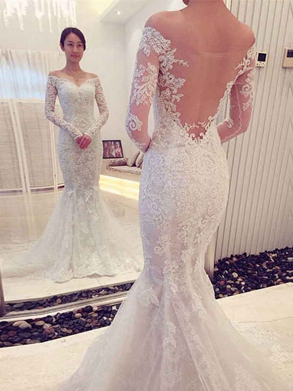 White Lace Off-the-Shoulder Trumpet/Mermaid Chapel Train Wedding Dresses