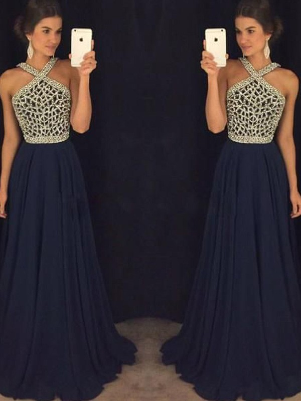 Dark Navy Chiffon Halter A-Line/Princess Floor-Length Prom Dresses