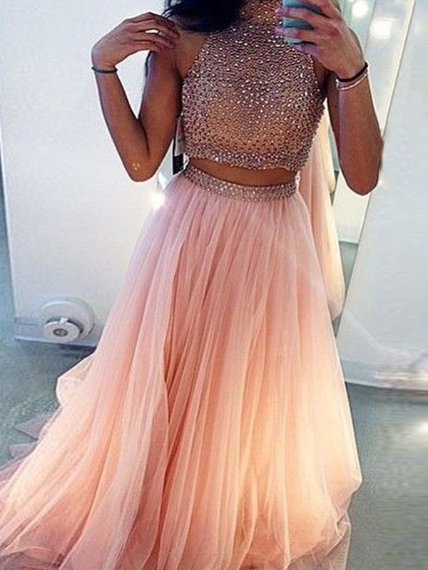 Pink Tulle High Neck A-Line/Princess Sweep/Brush Train Prom Dresses