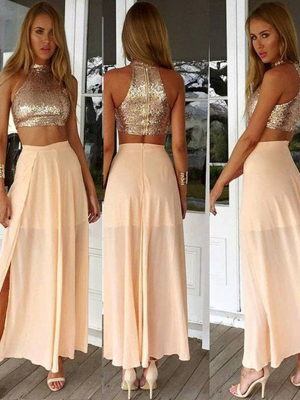 Pearl Pink Chiffon High Neck A-Line/Princess Ankle-Length Prom Dresses