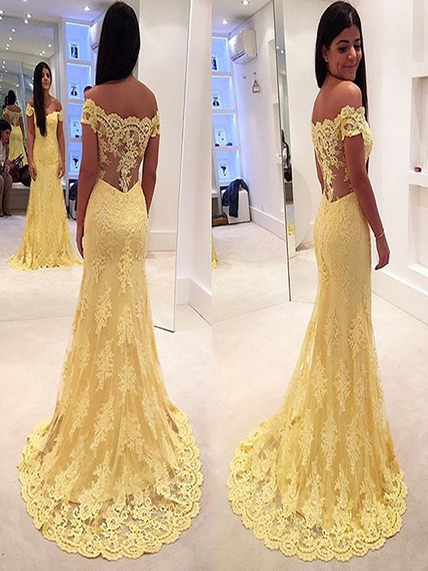 Daffodil Lace Off-the-Shoulder Trumpet/Mermaid Sweep/Brush Train Dresses