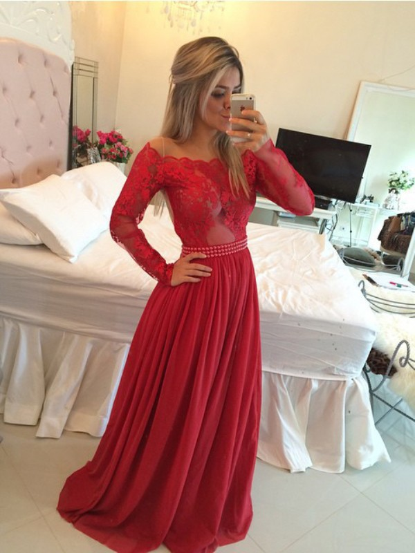 Red Chiffon Off-the-Shoulder A-Line/Princess Sweep/Brush Train Dresses