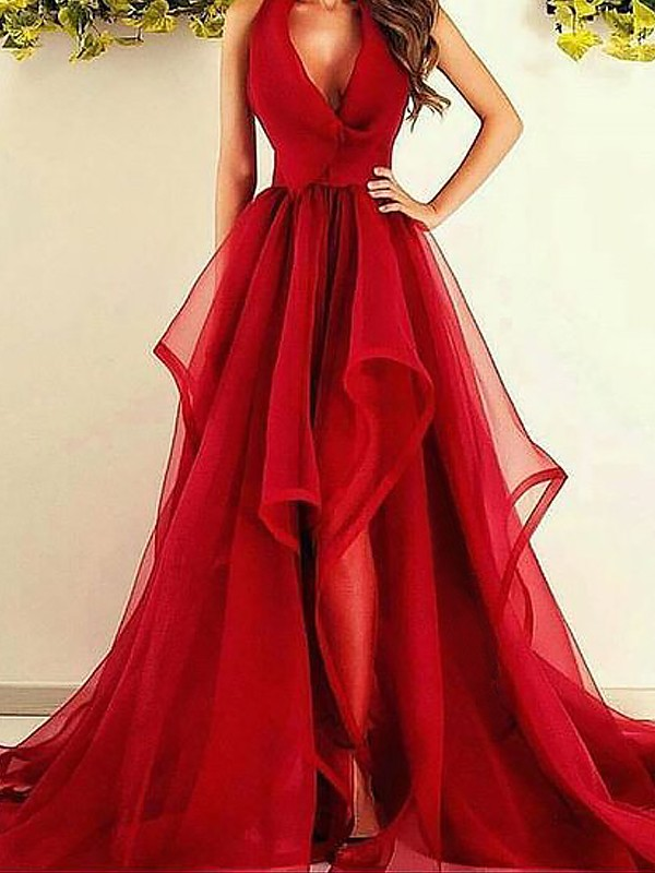 Red Organza V-Neck A-Line/Princess Asymmetrical Dresses