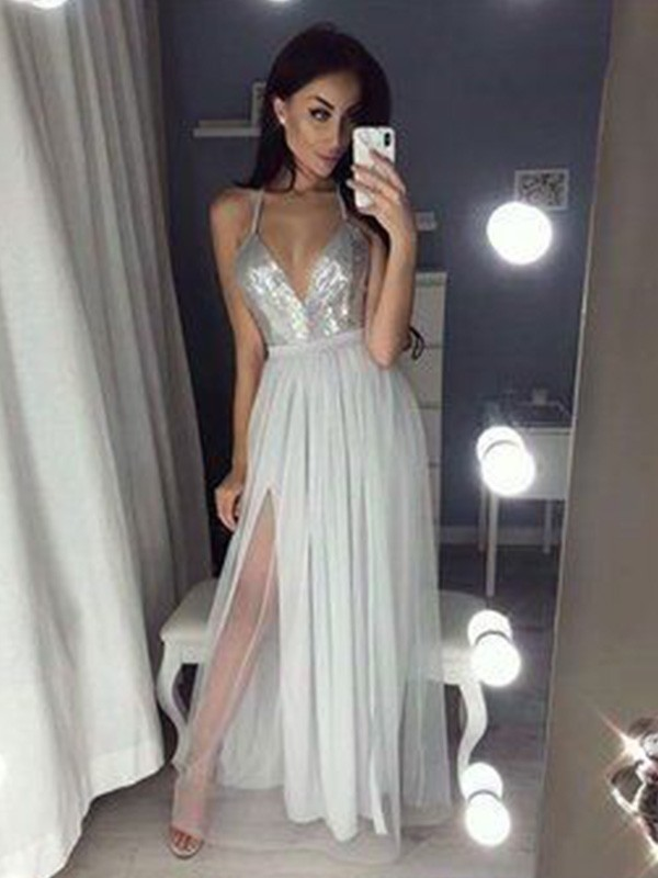 Silver Chiffon V-neck A-Line/Princess Floor-Length Dresses
