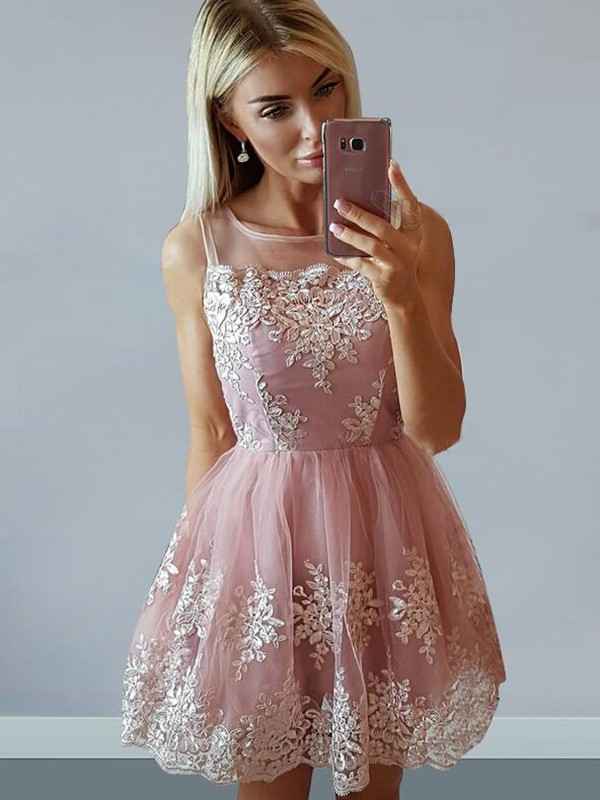 Pink Tulle Scoop A-Line/Princess Short/Mini Dresses