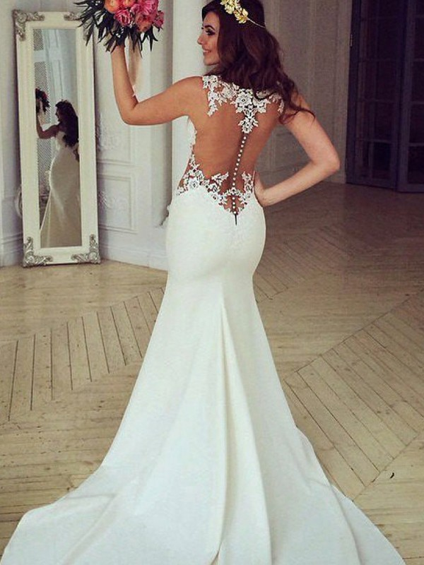 Ivory Lace Scoop Trumpet/Mermaid Sweep/Brush Train Wedding Dresses