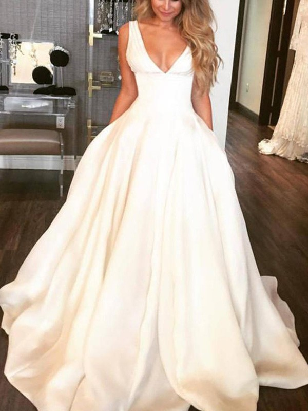 Ivory Satin V-neck A-Line/Princess Sweep/Brush Train Wedding Dresses