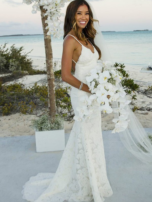 Ivory Lace Spaghetti Straps Trumpet/Mermaid Sweep/Brush Train Wedding Dresses